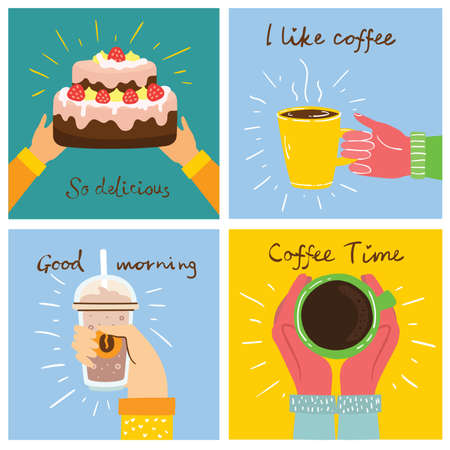 Set of Cup of coffee and the coffee cake illustrations. Vector modern cards