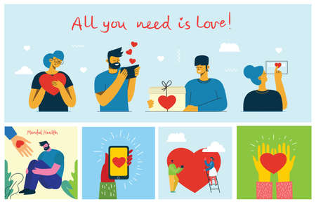 Share your Love. Hands and people with hearts as love massages. Vector illustration for Valentines day