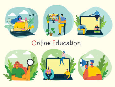Webinar online concept illustration. People use video chat on desktop and laptop to make conference. Set of people business activity. Work remotely from home. Flat modern vector illustration.