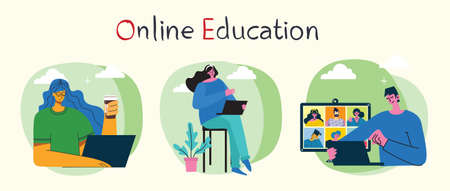 Webinar online concept illustration. Young man uses video chat on desktop and laptop to make conference.