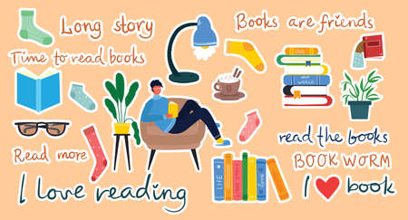 Read the book. Illustration of a people reading a book while sitting on a pile of books Ilustração