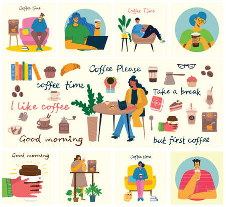 Coffee set vector illustrations. People spend their time in the cafeteria, drinking cappuccino, latte, espresso and eating desserts in the flat style Vector Illustration