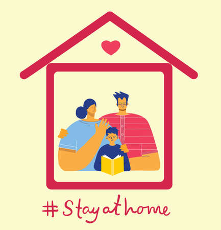 Family at house icon. Vector isolated illustration. Stay at home.