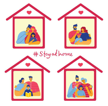 Family at house icon. Stay at home. Vector isolated illustration in the flat style Ilustracja