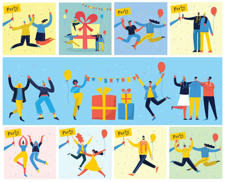 Party background. Happy group of people jumping on a bright background. The concept of friendship, healthy lifestyle, success. Vector illustration in a flat style Ilustrace