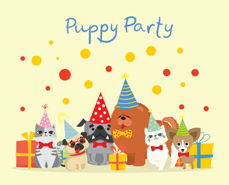 Puppy party background. Cute greeting card with presents and puppies dog and cats in the flat style Illustration