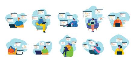 Programming and coding, Website development, Web design. Flat style design modern vector illustration concept.