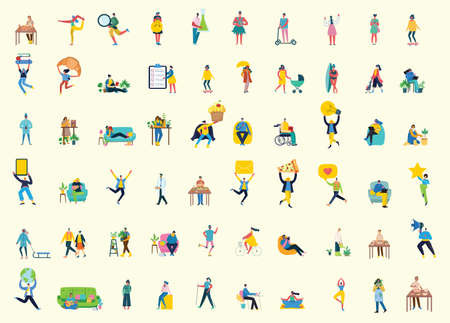 Set of people, men and women with different signs - book, work on laptop, search with magnifier, communicate. Vector graphic objects for collages and illustrations. Modern colorful flat style. Illustration