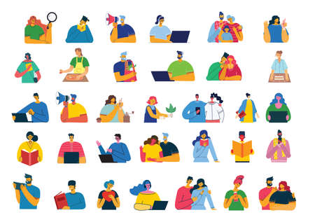 Set of people, men and women, family with kids reads book, works on laptop, searches with magnifier, communicates. Vector graphic objects for collages and illustrations. Modern colorful flat style. Illustration