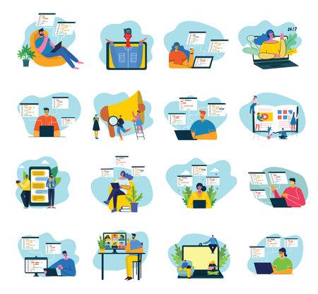 Vector illustration of concept of Team work, Business and Start up design backgrounds. tock vector illustration in flat design.