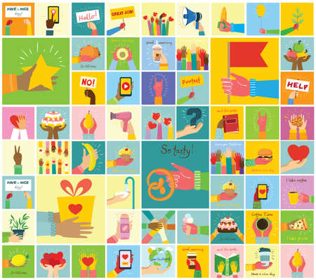 Hand-drawn illustrations of hands holddifferent things, such as smartphone, pizza, ice cream, donut and others in the flat style