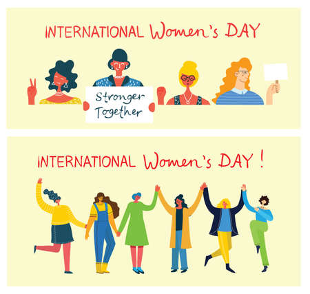 International women s day.Diverse international and interracial group of standing women. For girls power concept, feminine and feminism ideas. Vector illustration in the flat style