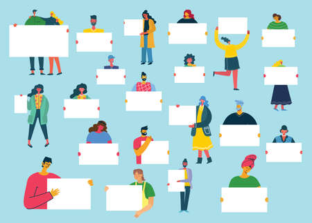 Vector illustration of people with banner for use in advertising, presentations, brochures, blogs, documents and forms in the flat style