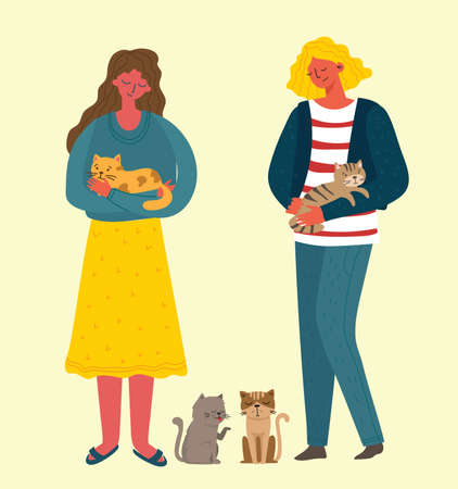 Pretty girls holding a cute cat in her lap and cats around in the flat style
