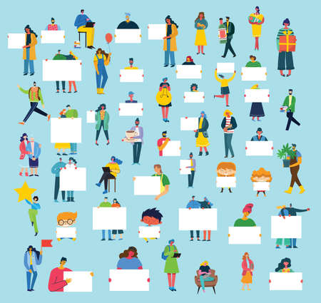 Set of people, men and women with different signs. Vector graphic objects for collages and illustrations. Modern colorful flat style.