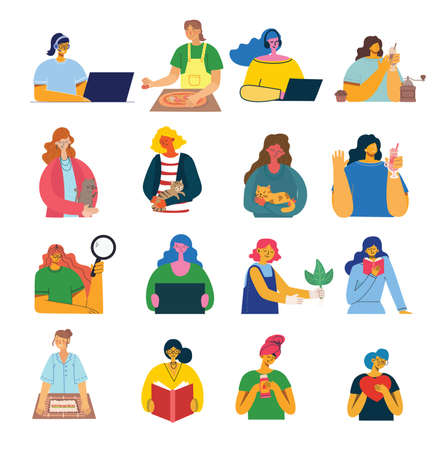 Set of women with different things.. Vector graphic objects for collages and illustrations. Modern colorful flat style.
