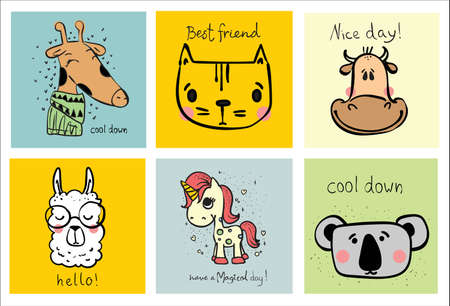 Collection of hipster cartoon character animals girrafe, cat, unicorn, coala and cow with accessories isolated vector illustration