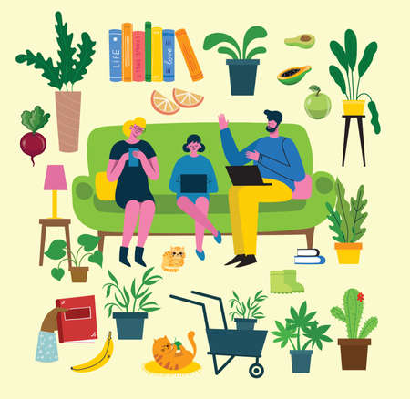 Cute woman sitting on chair with laptop and phone in cozy scandinavian home interior. Daily life of freelance worker, everyday routine. Cartoon vector illustration
