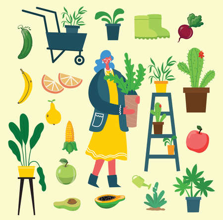 People summer gardening - set of vector flat hand drawn illustrations of people doing garden job - watering, planting