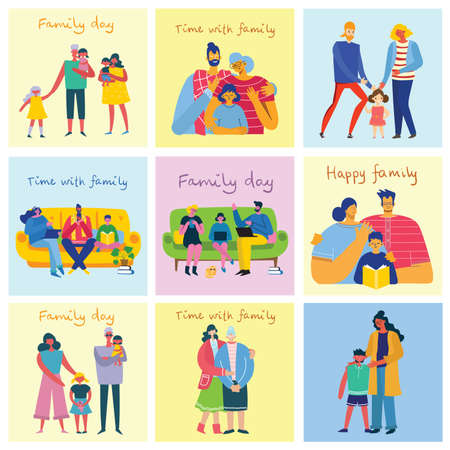 I love my family. Cute vector illustration with mother, father, daughter.