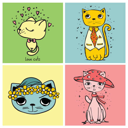 Sweet card illustrations with cute cats. Vector illustration