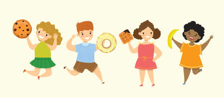 Cartoon funny friends fast food - coockie, waffle, donut, pretzel, croissant Vettoriali