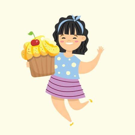 Cartoon funny illustration with girl with muffin