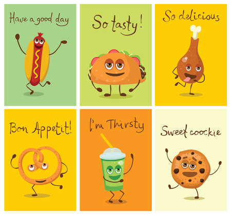 Funny cards with fast food characters with emotions, vector illustrations. Vettoriali