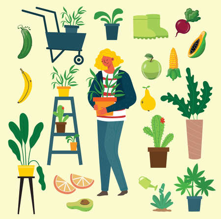 People summer gardening - set of vector flat hand drawn illustrations of people doing garden job - watering, planting, growing and transplant sprouts