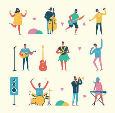 Musician persons in different music duets. Vector characters of singers Vettoriali