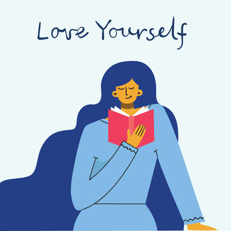 Love yourself woman background. Vector lifestyle concept card with text don t forget to love yourself