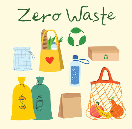 Hand drawn elements of zero waste life in vector. Eco style. No plastic. Go green Vettoriali