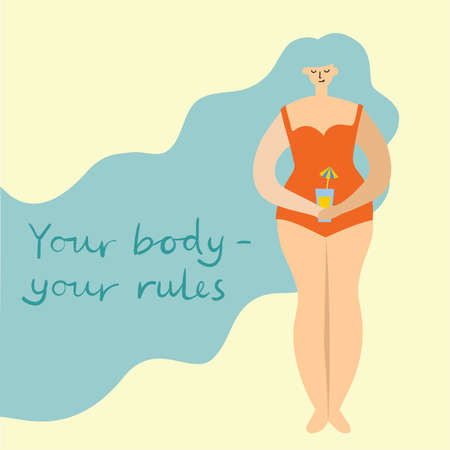 Your body - your rules. Love yourself. Vector lifestyle concept card with text don t forget to love yourself in the flat style
