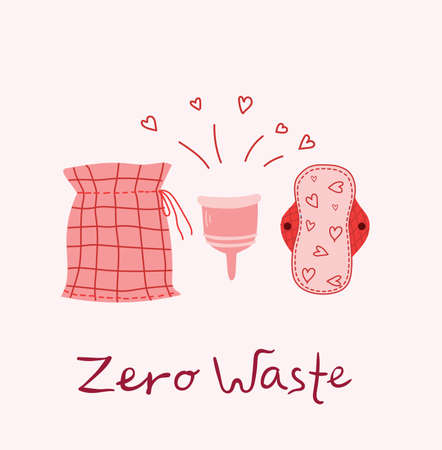 Menstruation theme. Period. Various feminine hygiene products. Zero waste objects in the flat style Vettoriali