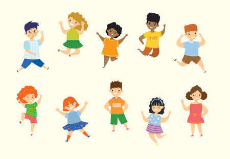 Happy little kids collection set. Isolated on white background in the flat style Vettoriali