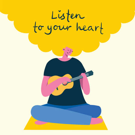 Listen to your heart. Love yourself. Vector lifestyle concept card with text don t forget to love yourself in the flat style Vettoriali