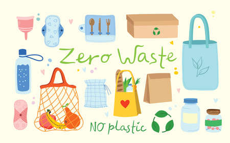 Hand drawn elements of zero waste life in vector. Eco style. No plastic. Go green in the flat style