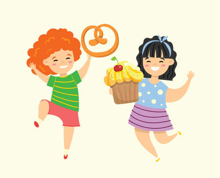 Cartoon funny girls friends with fast food cupcake and pretzel in the flat style Vettoriali