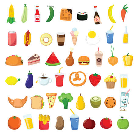 Big set icons food, flat style. Fruits, vegetables, meat, bread, fast food, sweets. Meal icon isolated on white background. Ingredients collection