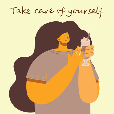 Take care of yourself. Love yourself. Vector lifestyle concept card with text don t forget to love yourself in the flat style