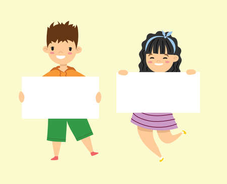 Kids holding banners. Vector boy and girl with empty banner, illustration cartoon school kid and board for text in flat design Vettoriali