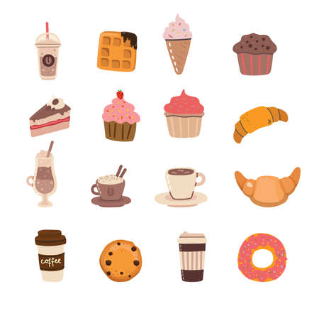 Set of coffee and desserts characters in trendy kawaii style. Take away cups, mugs and bean with hot beverage. Vettoriali