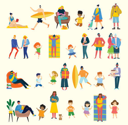 Set of people, children, men and women with different signs. Vector graphic objects for collages and illustrations. Modern colorful flat style. Vettoriali