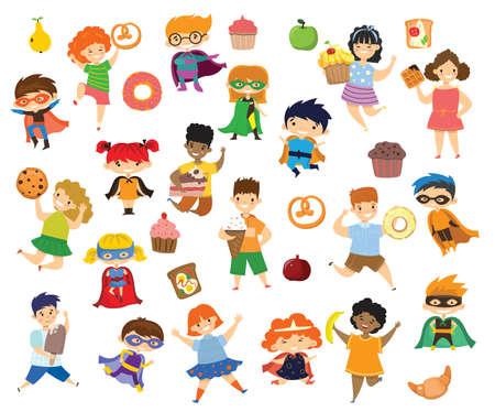Cartoon funny kids friends fast food - coockie, waffle, donut, pretzel, croissant, ice cream in the flat style