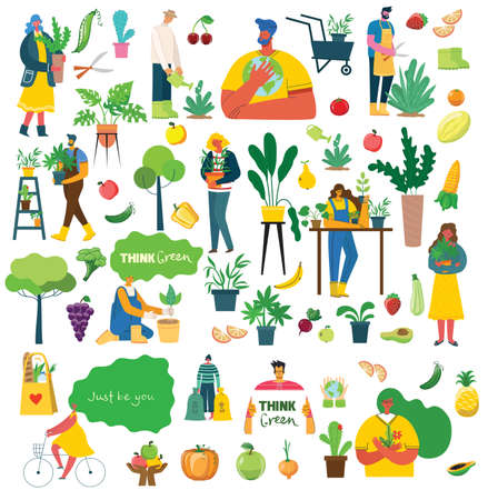 People summer gardening - set of vector flat hand drawn illustrations of people doing garden job - watering, planting, growing and transplant sprouts, self-sufficiency concept Vettoriali