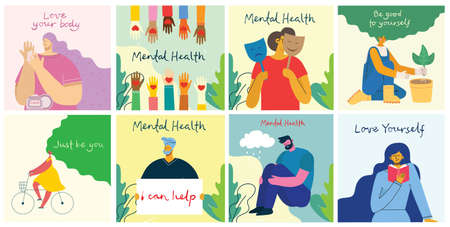 Mental health care treatment vector illustration concept. specialist doctor work to give psychology therapy. Tiny people character with ladder design. Banner, poster, or media social printing. Vettoriali