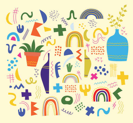 Vector set of trendy doodle and abstract nature geometric shapes and icons. Organic and minimalistic design for banner, cover, wallpaper, stories background decoration.
