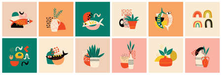Big Set of Twelve abstract backgrounds. Hand drawn various shapes, fishes and doodle objects. Contemporary modern trendy Vector illustrations, isolated background. Pastel colors