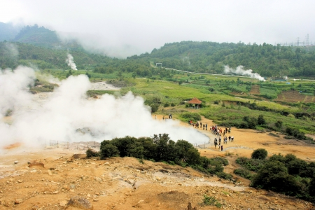 Sikidang crater is one of active crater at Dieng Plateau Complex, Wonosobo, Central Java, Indonesia   Stock Photo