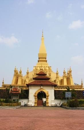 Pha That Luang at Vientiane, Laos Stock Photo